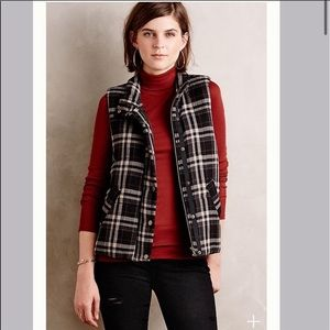 Anthropologie Hei Hei Zip Button Plaid Vest Medium